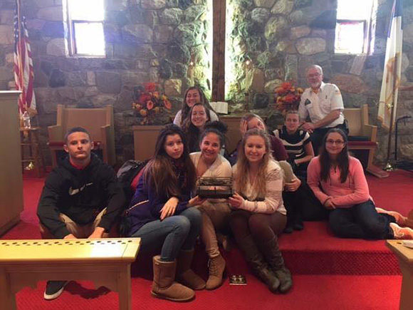 Members of the Social Justice Youth Ministry of the First Methodist Church of Reeders, PA filled 32 backpacks for OPERATION CHILLOUT annual winter homeless outreach campaign