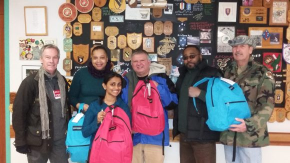 Chillout delivery team with staff at the VA Hospital in Lyons. Filled backpacks brought for all PTSD Treatment residents, the Women's Trauma Unit and Homeless Services Department.