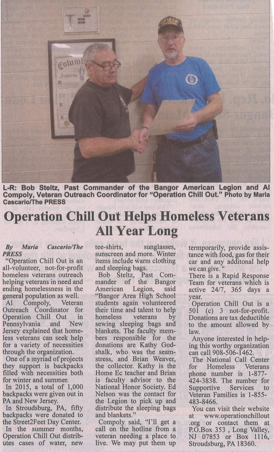 Homeless Veterans | Operation Chillout