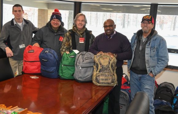 Outreach team delivers new warm clothing to 76 residents at Veterans Haven (South) Hammondton, NJ. Sgt. William Lobach, Assnt. Superintendent ; Tony; Ray; Colonel Walter Hall, Superintendent; Doug Walters USMC.